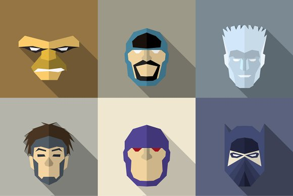 SuperHeroes Masks Flat (Set 14)