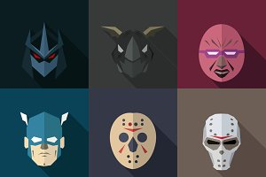 SuperHeroes Masks Flat (Set 15)