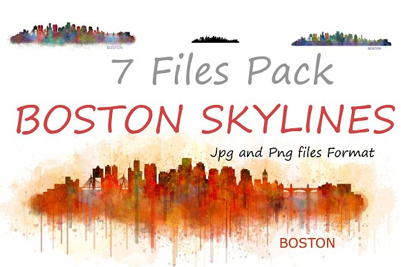 7x Files Pack. Boston Skylines - Illustrations