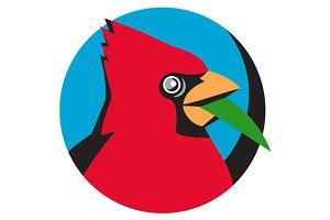Cardinal Head Blade Grass Circle