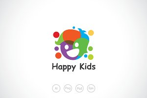 Happy and Fun Kids Logo Template