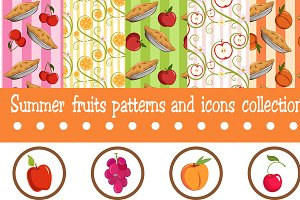 Summer Fruits Patterns and Icons Set