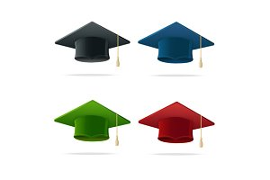 Student Hat Set Graduated. Vector