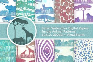 Watercolor Safari Animal Patterns