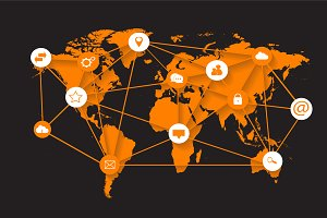 World map orange with media icons