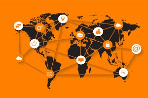 World map with media icons orange