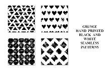 Grunge monochrome seamless patterns