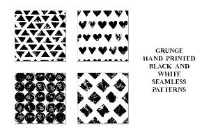 Grunge monochrome seamless patterns