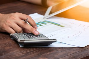 Businessman analyzing sales data