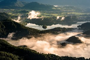 Lake Bled on a misty morning