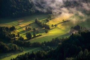 Cottages on a misty morning