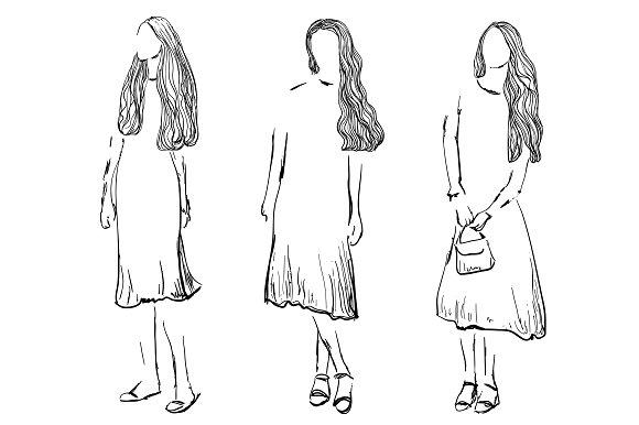 Fashion Models. Girls Sketch.