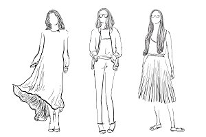 Fashion Models Sketch. Girls.