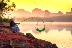 Fishing scene in morning