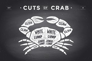 Cut of meat set, chalkboard. Crab