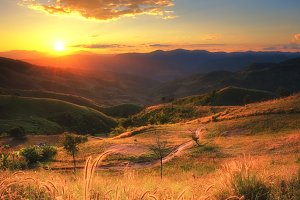 Sunset landscape on mountain