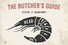 Cut of meat set. Shrimp
