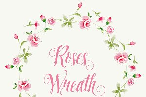 Vector watercolor rose wreath