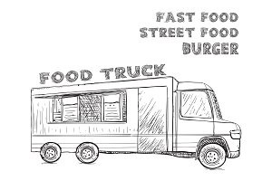 Hand drawn food truck