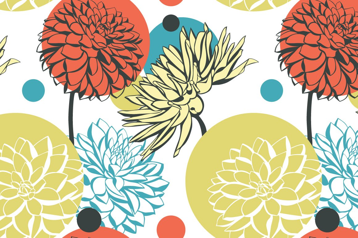 Abstract Pattern With Dahlia Flowers Patterns Creative Market