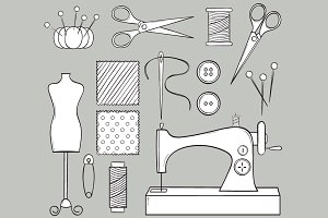 Hand Drawn Sewing Set