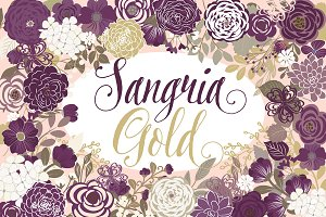 Vector Sangria and Gold floral