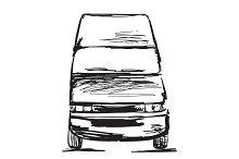 Hand drawn truck. Transport.