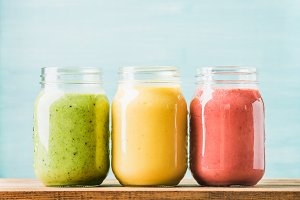 Fresh blended fruit smoothies
