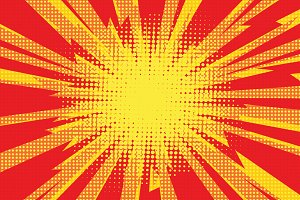 Red yellow pop art retro background