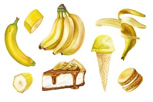 Watercolor banana delicious set