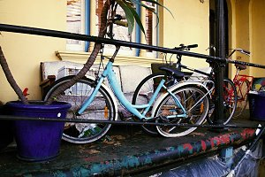 Bikes in front of the house