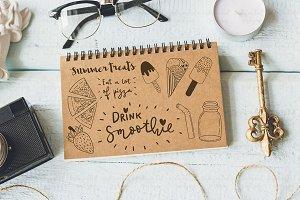 Summer treats. Set of cute doodles.