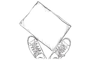 Sneakers and frame sketch