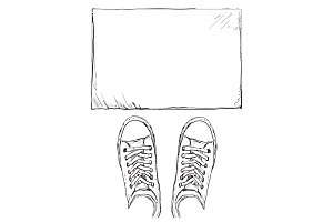 Hand drawn frame and sneakers