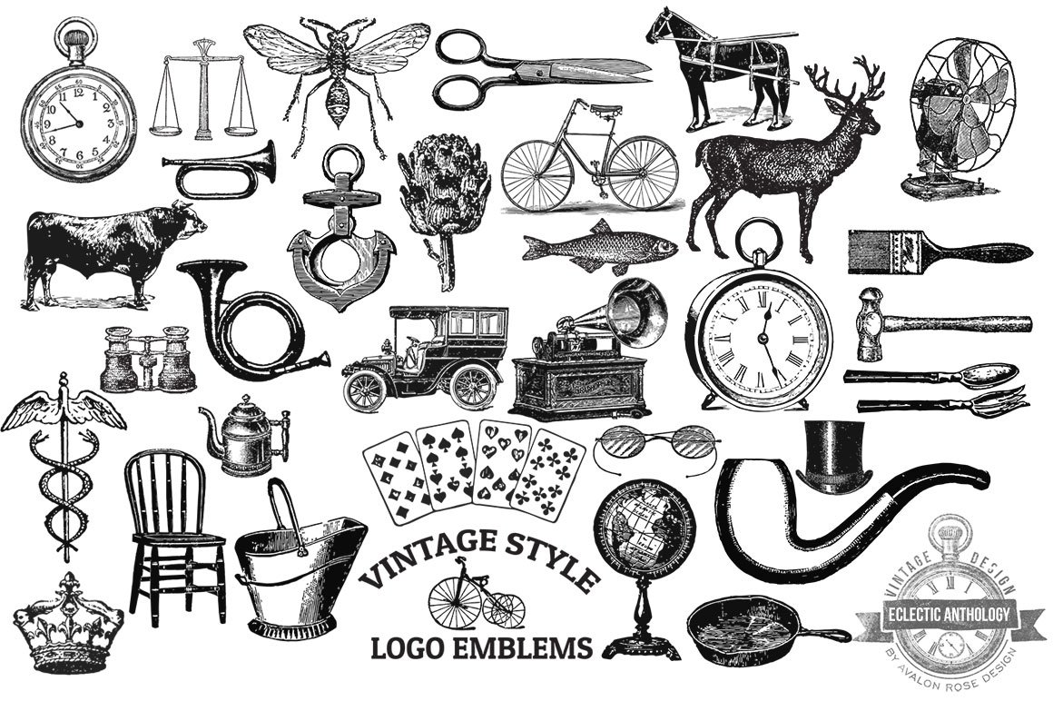 Vintage Vector Logo Emblems ~ Graphic Objects ~ Creative ...
