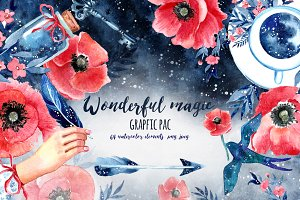 Wonderful set of watercolor grapfics