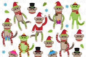 Christmas Sock Monkey Clipart/Vector
