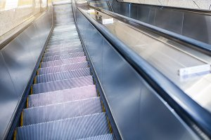 Empty escalator stairs