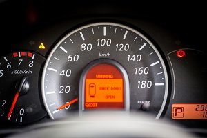 car dashboard and Odometer