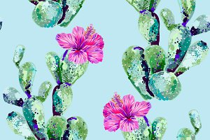 Cactus,tropical flowers pattern