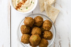 Falafels and hummus
