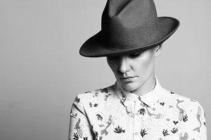 elegant woman wears hat