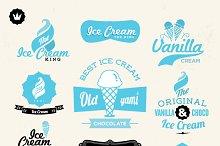 Retro, vintage Ice cream labels