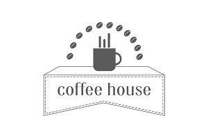 Coffee shop logo, label or symbol