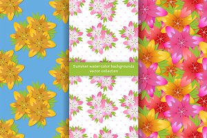 Flower watercolor seamless patterns