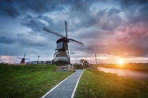 Landscape with dutch windmills