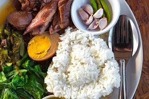 Stewed pork leg on rice,Thai food
