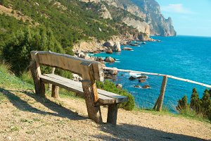 Wooden bench with beautiful view
