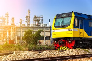 Freight train in industry zone