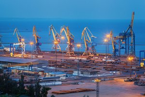 Sea commercial port at night.